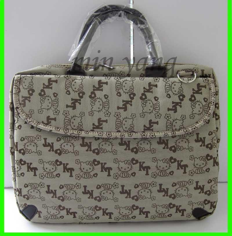 Brown 14 polegadas Laptop Case OLÁ KITTY Carry Bag Cinza cor Netbook Bag caso laptop saco de transporte gratuito(China (Mainland))