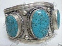 Fancy Tribal Tibet Silver Large Turquoise Cuff Bracelet shipping free