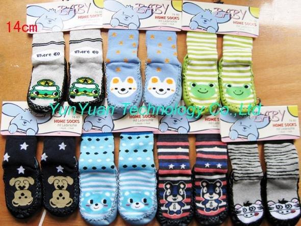 Bebê atacado meias meias casa de chão com couro inferior 100pairs / lot + frete grátis venda quente(China (Mainland))