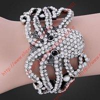 Free shipping  clear Rhinestone Crystal Octopus White GP Bracelet Cuff