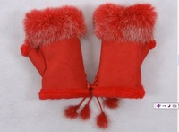 free shipping/half-fingers rabbit fur gloves/colors/ must have for autumn and winter fashion/ mixed wholesale (20Pcs)