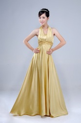 satin gold color beading Sequin floor length halter necklines wedding /bridal /evening /prom/ party /cocktail / dress zipper(China (Mainland))