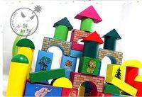 KID child 3D puzzle / 50 PCS wooden castle building /large animals puzzle christmas gifts