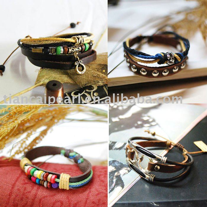 MIX STYLE genuine leather bracelet wristband bracelet Tibetan handmade(China (Mainland))