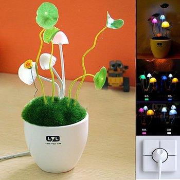 Romantic Wedding Gift Avatar Mushroom Light Flower Pot Led Night Light Christmas Gift 12pcs Free Shipping