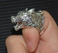 Free ship fee 925 sterling silver wolf finger ring US standards size 7  R377