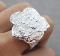 Free ship fee 925 sterling silver flower finger ring US standards size 7 &amp; 8  R368