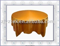 "sell 90*90"" gold satin overlay /table overlays"