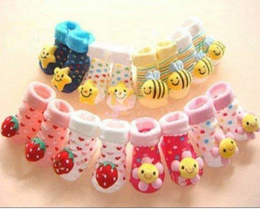 EMS frete grátis 60pairs Cute! Antiderrapantes 3D meias bebê meninas - antiderrapante criança Footgear bebê sapatinhos de bebê sapatos Sock sox(China (Mainland))