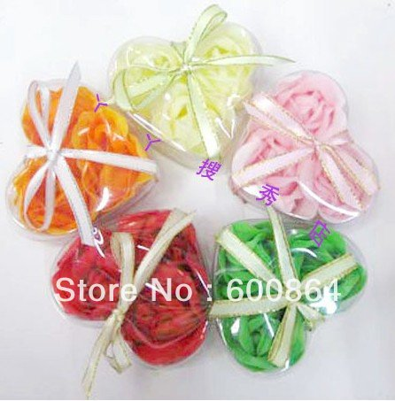 3pcs/pack Rose flower soap color mix order Flower soaps Natural material Hand made gifts Wedding flower soap freeshipping(China (Mainland))