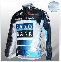 Free Shipping!! WINTER THERMAL FLEECE 2010 SAXO BANK cycling long JERSEY black&white pick: S-XXXL