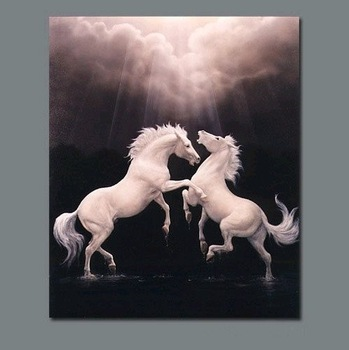 "Modern Animal Oil Painting:""White Horse"" Guaranteed 100% Free shipping"