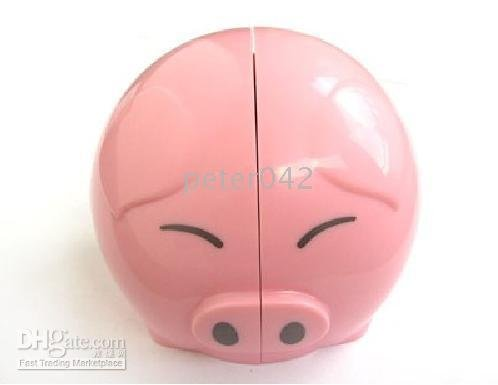 Free shipping+ 5pcs Mini Pink Stereo Speaker /Headphone Pig Audio speaker!(China (Mainland))