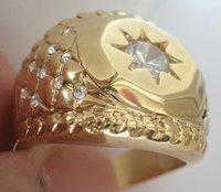 18K Yellow Gold GP White Topaz Brand Men's Ring; Free shipping . can mix