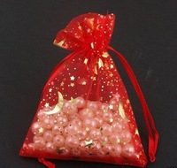 "200Pcs/lot RED STAR MOON ORGANZA WEDDING FAVOR GIFT BAGS POUCH 3.5x5""+  Gift&Free Shipping"