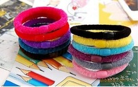 Free Shipping+100pcs/lot  Hot Sale!! Wholesale Fashion Plush Elastic hair band & hair accessories,High Quality,More Colors Mixed