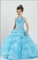 Flower girl dress Children New Formal blue