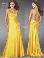 evening dress/plus/pregnant size/Custom size NO.69 Bri.yellow Halter satin