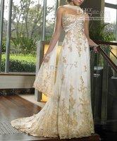 wedding dress/bridal/evening dress/plus/pregnant size/Custom size NO.104 Strapless lace applique