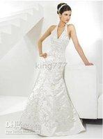 Halter Mermaid Brush Train Luxe Taffeta Wedding Dress for Bride Style 8525