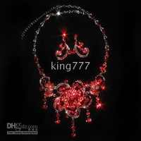 New style red Simulated Diamond Jewelry Sets/Noble pearl necklaces earrings #17