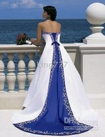 size/Custom size NO.289 White/blue Strapless wedding dress/bridal/evening dress/plus/pregnant