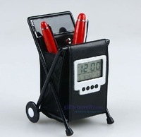 Wholesale 15pcs/lot Leather Folding Pen Holder with Digital Clock FREE SHIPPING