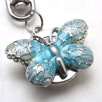 FREE SHIPPING Wholesale 30pcs mixed color Butterfly Key Rings Keychain Watches Children Watch  Christmas Gift