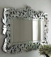 MR201012 glass rectangle venetian mirror with hand etched flowers
