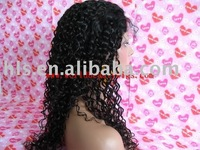 "free shipping+wig cap  Fashion Brazilian virgin hair 18""water wave natural color full lace wigs high quality"