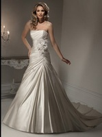 2011 New Style A-line Strapless  Floor-length Satin  Wedding Dress(Free shipping)
