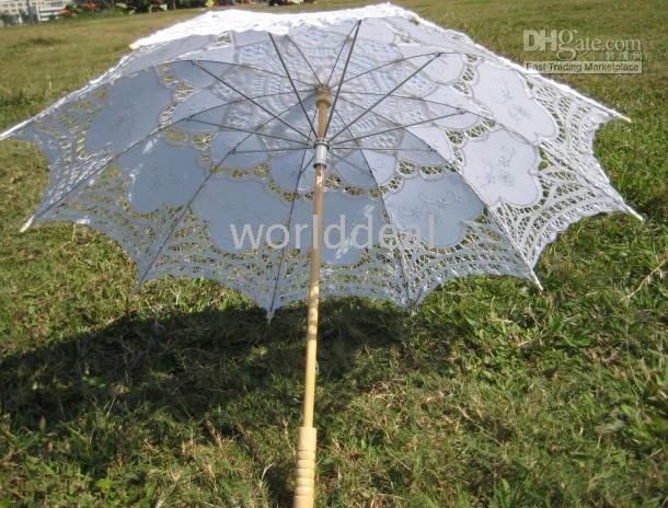 batten lace a0093 white Parasol Umbrella for wedding Bridal