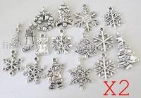 FREE SHIPPING 160PCS Mixed Lots of tibetan silver Christmas charms Xmas Pendants M19356