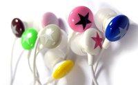 EMS Free Shipping 50pcs/lot 3.5mm star candy in ear earphone for mp4 mp3 laptop/ colorful in-ear earphone