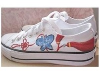hand-painted Canvas shoes,Chinese knot,Paint on demand