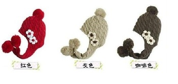 Mixed wholesale Winter knitting  EarFlap Hat Cap  scarf cap Lovely ornamental flowers hats