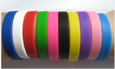 Wholesale - Silicone Bracelet no word plain blank light board multicolor Sports bracelet Colorful 20CM 10pcs/lot+Free Shipping(China (Mainland))