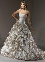 2011 New Style Romantic A-line Sweetheart  Floor-length  Satin  Wedding Dress(Free shipping)