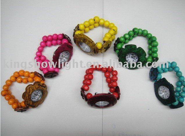 Freeshipping wholesale 10pcs mixed styles christmas gifts , coconut shell watches , beaded bracelets watches(China (Mainland))