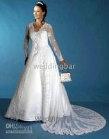 white long Sleeve A-line two pieces lace sweep train wedding dress/gown 1635and retail