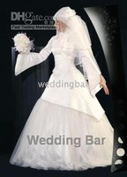 Middle East A-line high collar wedding dress/gown 1604and retail ivory long Sleeve