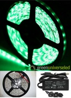 Green SMD 5050 Non-Wateproof Flexible 240 LEDs 5M 12 volt  led rope lighting&60w Power Supply free shipping