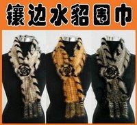 new women Knitting Mink Scarf Big Flower Mink Wraps Women's Fur Scarves warmly