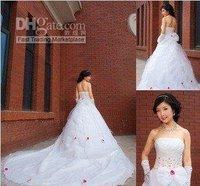 2011 White Strapless Paillette HandMade Flower wedding dress