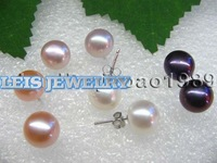 AA wholesale 9-10mm freshwater pearl earring 925 silver studs