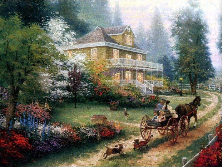 Pintura a óleo casa paisagem cão cavalo de transporte moderno Garantido 100 % Frete grátis(China (Mainland))