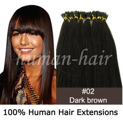"""22 """"ponta vara queratina da extensão do cabelo 0,5 g # 2 da cor escura marrom 200pieces(China (Mainland))"""