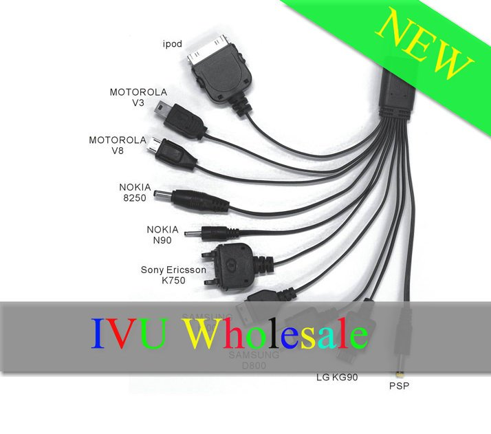 Freeshipping 10pcs Mini 10 pin charger cable for ipod touch iphone 3G 3GS 4G Blackberry HTC MP3 MP4 PSP IVU(China (Mainland))