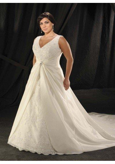 feitos sob medida e frete grátis v- pescoço mangas bordadas cetim plus size vestido de noiva vestido de noiva vestido de noiva(China (Mainland))