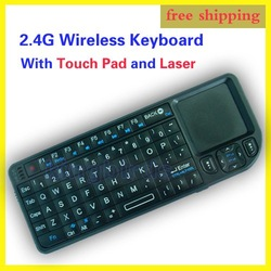 Free Shipping 2.4G Wireless Keyboard With Touch Pad and Laser 100% NEW(China (Mainland))